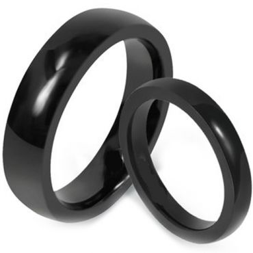 *COI Black Tungsten Carbide Dome Court Ring - TG1619