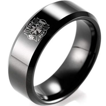 COI Black Tungsten Carbide Fire Fighter Beveled Edges Ring-TG165