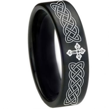 COI Black Tungsten Carbide Celtic Cross Pipe Cut Ring-1661