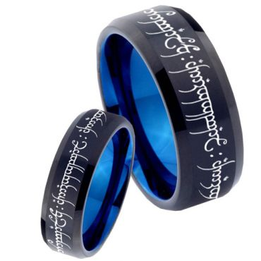 COI Tungsten Carbide Black Blue Lord of The Ring Ring-1711