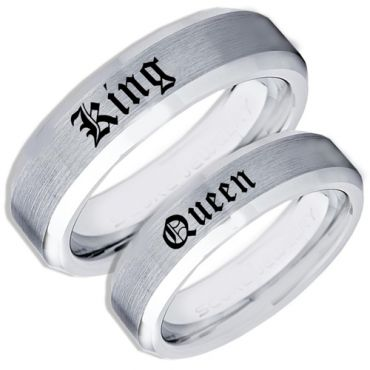 *COI Tungsten Carbide King Queen Beveled Edges Ring-TG1755