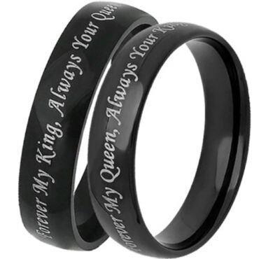 COI Black Tungsten Carbide King Queen Dome Court Ring - TG1756