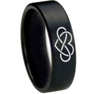 *COI Black Tungsten Carbide Infinity Heart Ring - 1821
