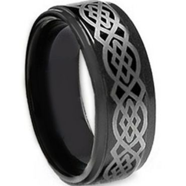 COI Black Tungsten Carbide Celtic Step Edges Ring-TG5106