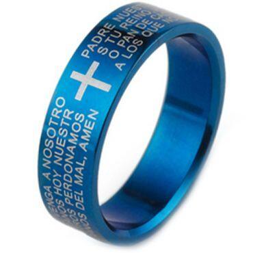 COI Blue Tungsten Carbide Cross Scripture Ring - TG1866