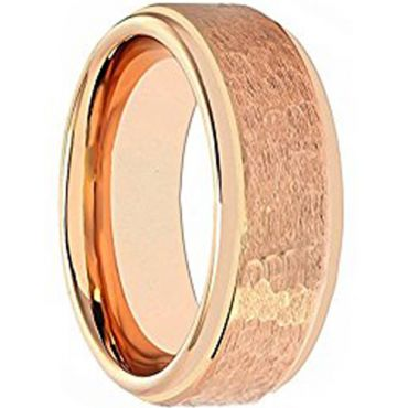 COI Rose Tungsten Carbide Hammered Step Edges Ring-TG1877AA
