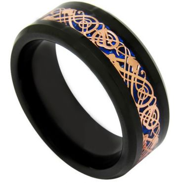 COI Tungsten Carbide Black Rose Dragon Ring-TG1896