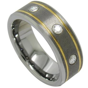 COI Tungsten Carbide Gold Silver Cubic Zirconia Ring - TG1947
