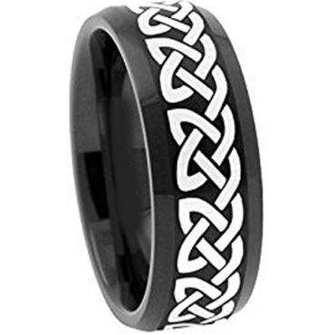 COI Black Tungsten Carbide Celtic Beveled Edges Ring-TG1959