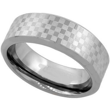 COI Tungsten Carbide Checkered Flag Pipe Cut Ring-TG1985