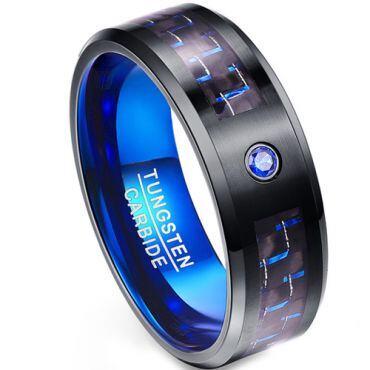 COI Tungsten Carbide Black Blue Carbon Fiber Zirconia Ring-TG1988