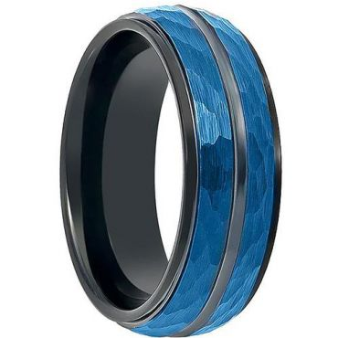 COI Titanium Black Blue Faceted Center Groove Ring - 199