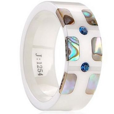 (Limited Offer!)COI Ceramic Ring With Abalone Shell-TG2046(US8)