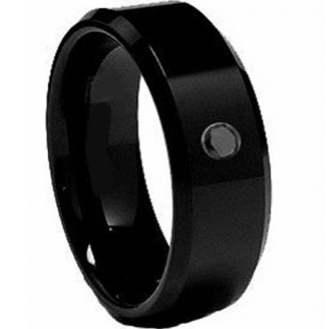 COI Black Titanium Ring With Genuine Black Diamond - 2062