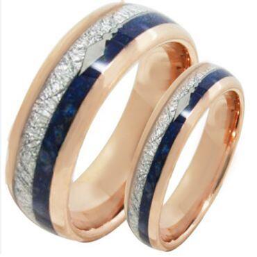 COI Rose Tungsten Carbide Meteorite Lapis Lazuli Ring-2077