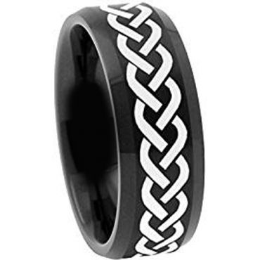 COI Black Tungsten Carbide Celtic Beveled Edges Ring - TG2116
