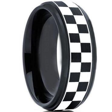 *COI Tungsten Carbide Black Silver Checkered Flag Ring-TG2136
