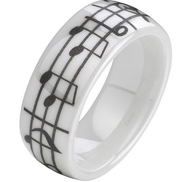 COI White Ceramic Music Note Dome Court Ring - TG2139A