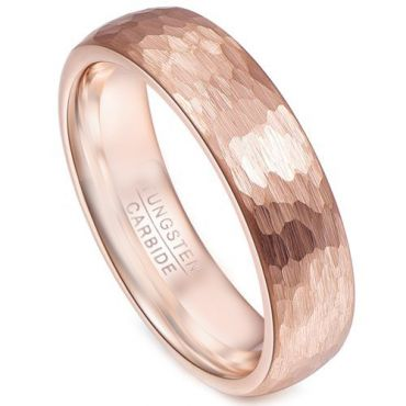 COI Rose Tungsten Carbide Hammered Ring - TG2158AA