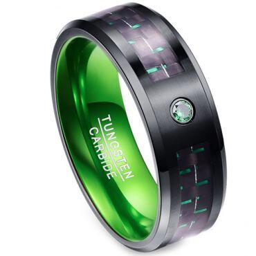 *COI Tungsten Carbide Black Green Carbon Fiber Zirconia Ring-2165