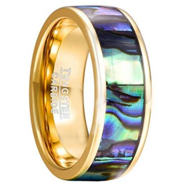 COI Gold Tone Tungsten Carbide Abalone Shell Ring - TG2191CC