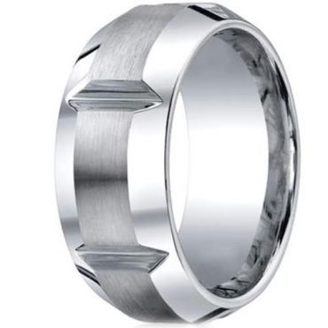 **COI Tungsten Carbide Horizontal Grooves Beveled Edges Ring-2198
