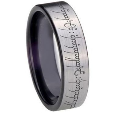 COI Tungsten Carbide Lord of the Ring Pipe Cut Ring-2213