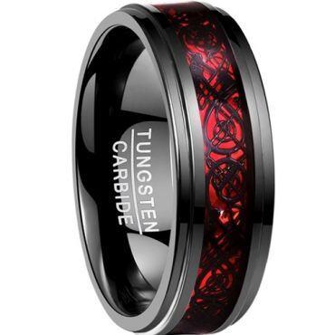 COI Black Tungsten Carbide Dragon Step Edges Ring - TG2214