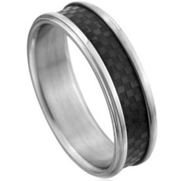 COI Cobalt Chrome Ring With Carbon Fiber - CR2231(Size:US5)