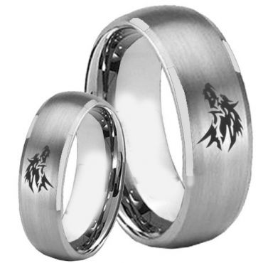 *COI Tungsten Carbide Wolf Beveled Edges Ring - TG2249BB
