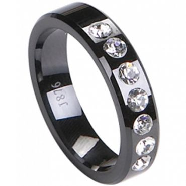 COI Black Titanium Wedding Band Ring - TG2259(Size US6)