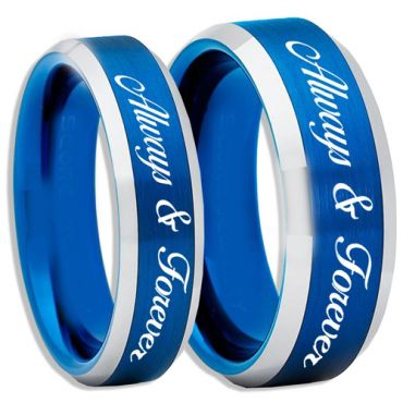COI Tungsten Carbide Blue Silver Always & Forever Ring-TG2263
