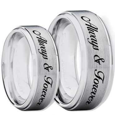 COI Tungsten Carbide Always & Forever Step Edges Ring-TG2266