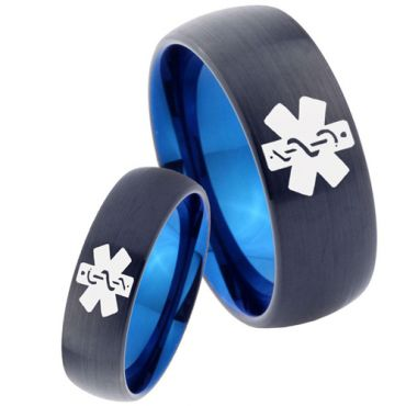 COI Tungsten Carbide Black Blue Medic Alert Dome Ring - TG2272