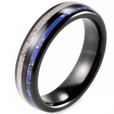 COI Black Tungsten Carbide Deer Antler & Blue Wood Dome Court Ring-2283