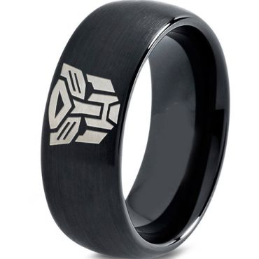 COI Black Tungsten Carbide Transformer Dome Court Ring - TG2286