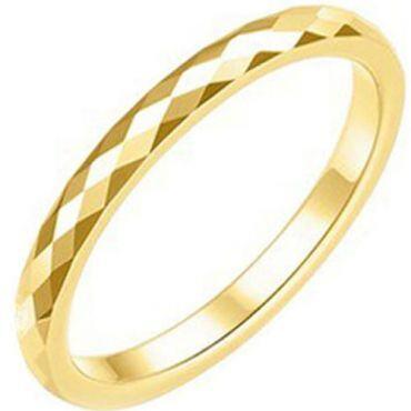 COI Gold Tone Tungsten Carbide Faceted Wedding Band Ring-TG2361A