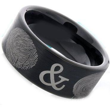 COI Black Tungsten Carbide Custom FingerPrint Pipe Cut Ring-2388