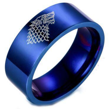 COI Blue Titanium Game of Thrones Ice Wolf Flat Ring-2424