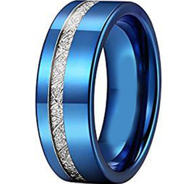 COI Blue Titanium Pipe Cut Ring With Offset Meteorite - JT2380AA
