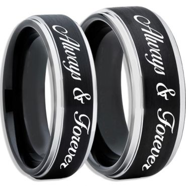 *COI Tungsten Carbide Black Silver Always & Forever Ring-TG2450