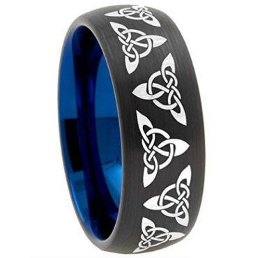 COI Titanium Black Blue Trinity Knots Dome Court Ring - 2492