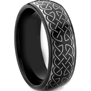 COI Black Tungsten Carbide Celtic Dome Court Ring - TG2530