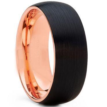 *COI Tungsten Carbide Black Rose Dome Court Ring - 2555