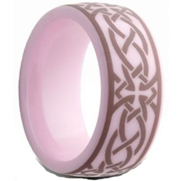 COI Pink Ceramic Cross Celtic Dome Court Ring - TG2559AA