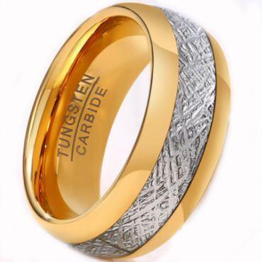 COI Gold Tone Tungsten Carbide Meteorite Ring - TG2593AA