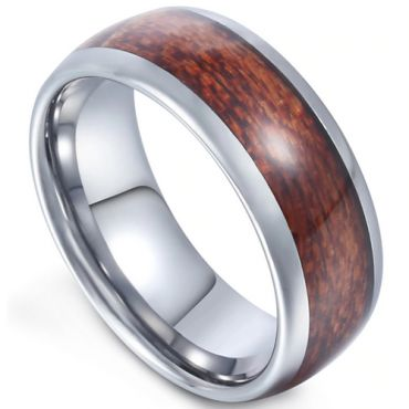 COI Tungsten Carbide Dome Court Ring With Wood - TG2598