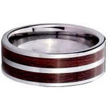 COI Tungsten Carbide Pipe Cut Flat Ring With Wood - TG2602