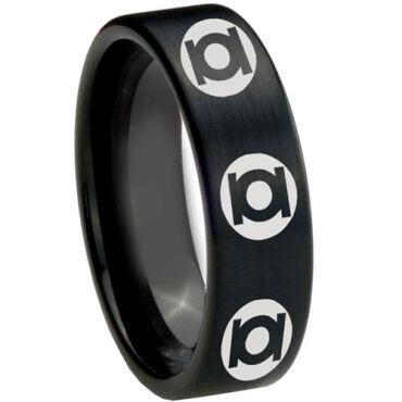 COI Black Tungsten Carbide Green Lantern Pipe Cut Ring-2609