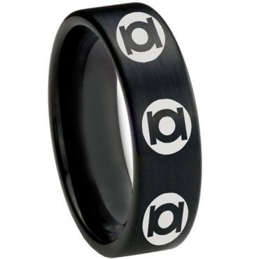 COI Black Tungsten Carbide Green Lantern Pipe Cut Ring-2609